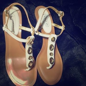Gently used White size 10 B  Coach Sandals.